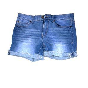 Blue stretchy jean shorts